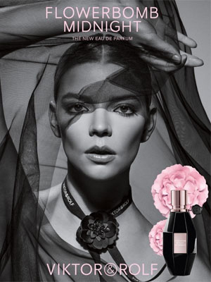 Anya Taylor-Joy Viktor and Rolf Flowerbomb Midnight celebrity scents