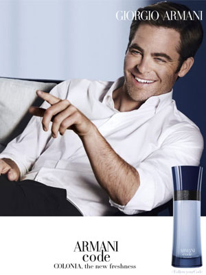 Chris Pine Armani Code Colonia celebrity perfumes
