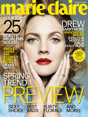 Marie Claire February 2014 Drew Barrymore