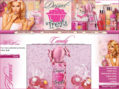 Website Preview, Dessert Treats Candy website, Jessica Simpson